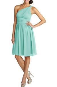 One Shoulder Ruched Short Chiffon Dress
