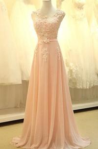 A-line Long Sleeveless Chiffon Dress with Lace Appliques