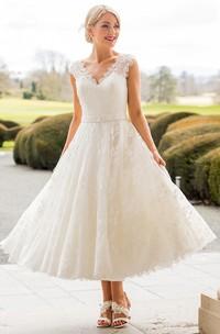 A-Line Tea-Length Appliqued Scalloped Cap Sleeve Lace Wedding Dress