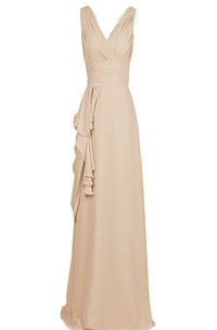 Sleeveless V-neck Gown With Draping and V-back