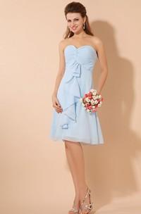 Rustic Knee-Length Chiffon Dress With Criss-Cross Ruching