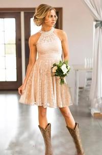 High Neck Sleeveless Short Lace A-Line Dress