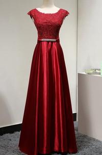 Scoop Neck Cap Sleeve Lace Bodice Satin A-line Long Dress With U Back