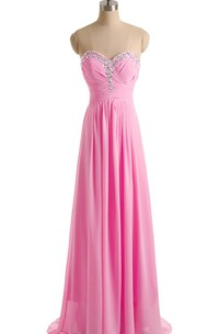 Sweetheart Sequined Pleated Chiffon A-line With Crystal Detail