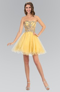 A-Line Short Strapless Sleeveless Tulle Satin Dress With Beading And Pleats