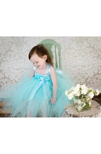 Criss-cross Straps Tiered Tulle Knee Length Dress With Bows