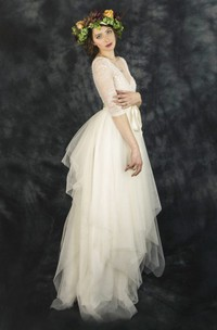 Vintage Tulle Lace V-Neck Half Sleeve Dress With Bow Draping