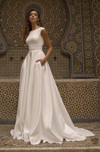 Cap Sleeve Bateau Neckline With Elegant Satin Wedding Dress With V-back And Sash Details