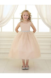 Scoop Neck Sleeveless Tea Length Tulle Gown With Beading Waist