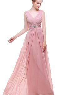 Empire V Neck V Back Beaded A-line Chiffon Dress Pink