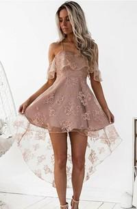 A-line Sleeveless Lace Spaghetti Cross Back High-low Homecoming Dress