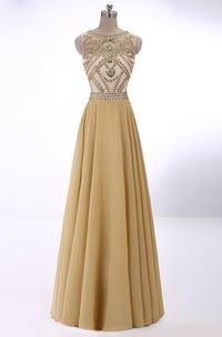 A-line Sleeveless Scoop Crystal Chiffon Floor-Length Dresses