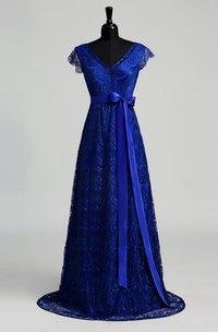 A-line V-neck Cap Short Sleeve Floor-length Lace Dress with Sweep/Brush Train