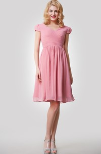 Knee Length A-Line Chiffon Dress With Cap Sleeves and Pleats