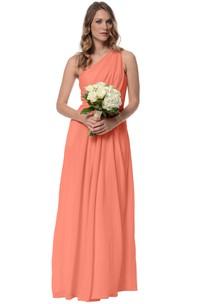 Chiffon Long A-Line Glamorous One-Shoulder Dress