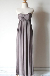 Strapless Silver Grey Chiffon Dress