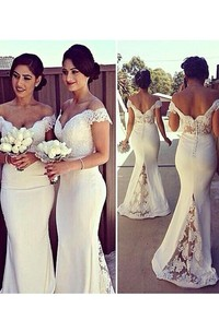 Mermaid Sleeveless Off-the-Shoulder Lace Satin Sweep Train Dresses