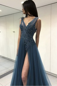 V-neck Ethereal Tulle Front Split Floor-length Dress With Appliques And Beading