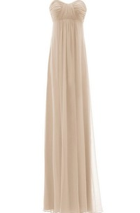 Sweetheart Empire Long Pleated Chiffon Gown
