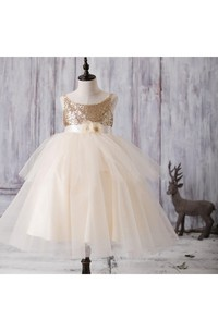 Scoop Neck Sleeveless Layered Tulle Ball Gown With Sequins and Floral Sash