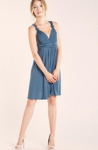 V Neck Empire Pleated A-line Knee Length Dress With Criss Cross Back