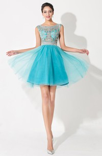 Modern Illusion Cap Sleeve Tulle Homecoming Dress With Crystals