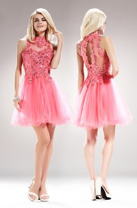 A-Line Mini High Neck Sleeveless Tulle Illusion Dress With Appliques And Sequins