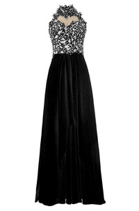 High-neck A-line Dress With Beadings and Keyhole