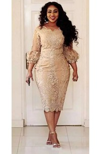 Plus Size Knee-length 3-4 Length Scalloped Lace Vintage Bodycon Sexy Sleeve Puff/Balloon Dress