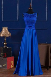 Jewel A-line Floor-length Sleeveless Satin Lace Bridesmaid Dress with Lace-up Back