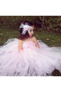 Illusion Straps Empire Tulle Ball Gown With Flower and Pleats