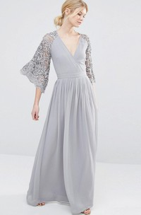 V-Neck Bell Sleeve Lace Chiffon Bridesmaid Dress With Pleats
