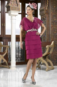 Knee-Length V-Neck Poet Sleeve Jeweled Chiffon Mother Of The Bride Dress With Tiers