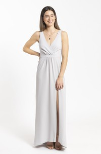 Plunging Neckline Sheath Chiffon Front Split And Ruched Details Bridesmaid Dress