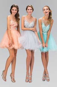 A-Line Short Scoop-Neck Sleeveless Tulle Illusion Dress With Appliques