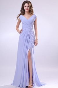 V-Neck Chiffon Pleated Dress With Criss-Cross Ruching and Front Splitting