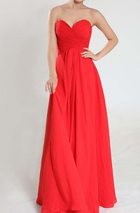 Floor-length Sweetheart Empire Criss-Cross Pleated Chiffon Bridesmaid Dress
