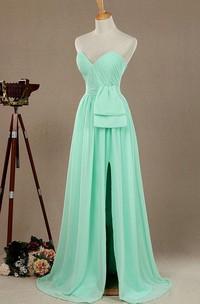 Long Strapped Sweetheart Chiffon&Satin Dress