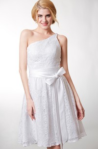 Dainty Asymmetrical Belted A-line Floral Lace Dress With String Back Strap