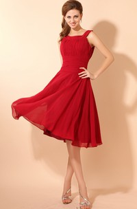 Square-Neck Chiffon Knee-Length Dress With Pleating