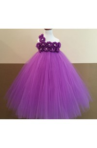 Floral One Shoulder Empire Tulle Ball Gown With Bow