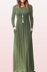 Elegant Jersey Long Sleeve Bateau A Line Guest Dress With Pockets