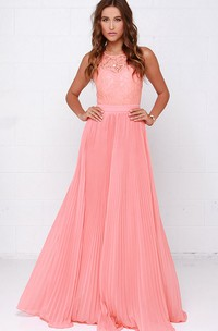 Sleeveless Unique Pleated Gown With Lace Bodice