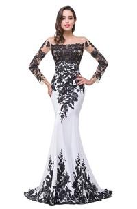 Glamorous Long Sleeve Mermaid 2018 Evening Dress Black Appliques Mother Dress