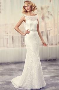 Maxi Bateau Jeweled Lace Wedding Dress With Sweep Train And V Back