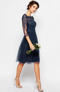 3-4-Sleeve Bateau-Neck Knee-Length Tulle Bridesmaid Dress With Illusion