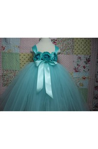 Satin Straps Floral Bodice Empire Tulle Ball Gown With Sash