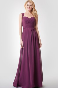 A-line Ruched Long Chiffon Dress With Key-hole