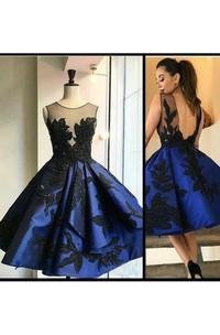 Ball Gown Sleeveless Satin Bateau Deep-V Back Tea-length Homecoming Dress