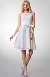 Lovely Sleeveless Short Lace Dress With Bow Sash